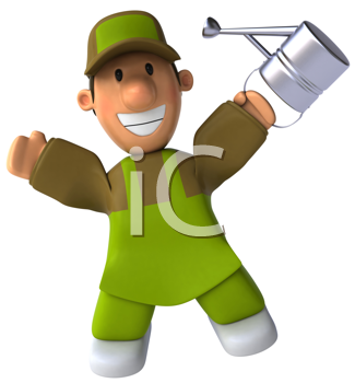 Royalty Free Clipart Image of a Happy Man With a Watering Can