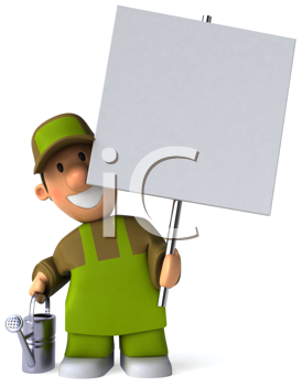 Royalty Free Clipart Image of a Gardener With a Sign and Sprinkler