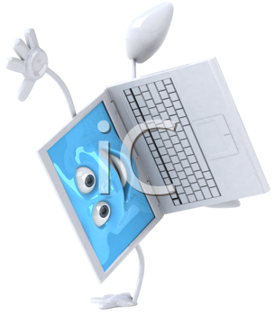 Royalty Free Clipart Image of a Happy Laptop