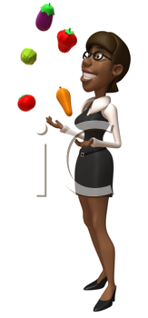 Royalty Free Clipart Image of a Woman Juggling Vegetables and Fruit