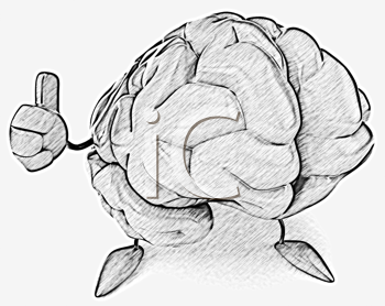 Royalty Free Clipart Image of a Brain Giving a Thumbs Up