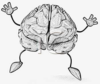 Royalty Free Clipart Image of a Happy Brain