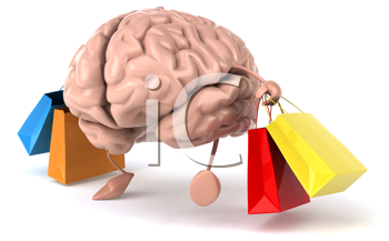 Royalty Free Clipart Image of a Brain With Shopping Bags