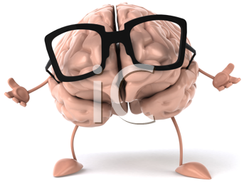 Royalty Free Clipart Image of a Brain With Glasses