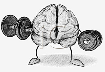 Royalty Free Clipart Image of a Brain Lifting Weights