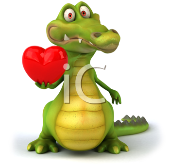 Royalty Free Clipart Image of a Crocodile With a Heart