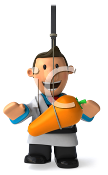 Royalty Free Clipart Image of a Doctor With a Carrot in Front of His Face