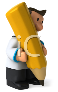 Royalty Free Clipart Image of a Physician With a Pencil