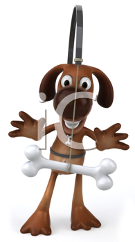 Royalty Free Clipart Image of a Dog With a Bone Dangling in Front of Him