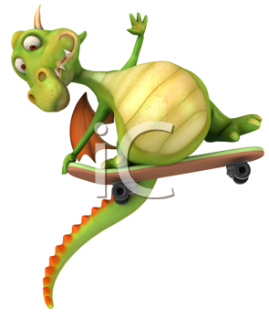 Royalty Free Clipart Image of a Dragon With a Skateboard