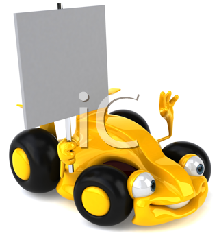 Royalty Free Clipart Image of a Race Car With a Sign