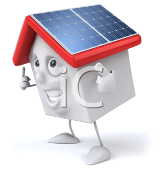 Royalty Free Clipart Image of a Solar House