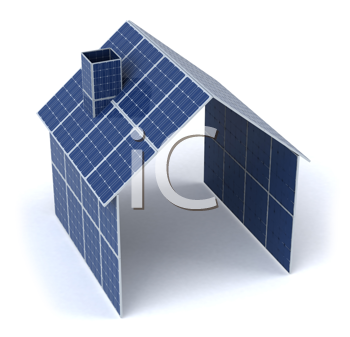 Royalty Free Clipart Image of a Solar Panel House