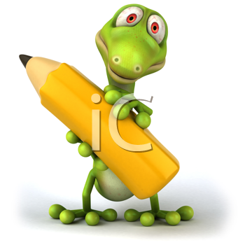 Royalty Free Clipart Image of a Lizard With a Pencil