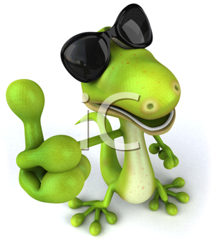 Royalty Free Clipart Image of a Lizard in Sunglasses Giving a Thumbs Up