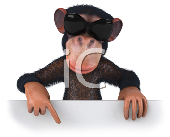 Royalty Free Clipart Image of a Monkey With Sunglasses