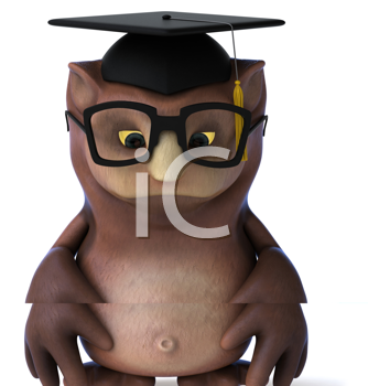 Royalty Free Clipart Image of a Sad Owl in a Mortarboard