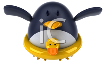 Royalty Free Clipart Image of a Penguin With a Rubber Duck Ring