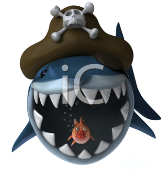 Royalty Free Clipart Image of a Shark Pirate