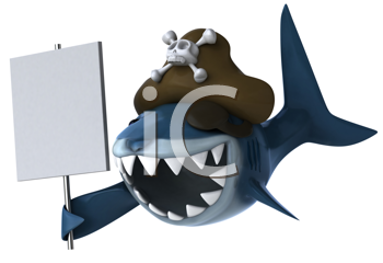 Royalty Free Clipart Image of a Pirate Shark With a Sign