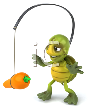 Royalty Free Clipart Image of a Carrot Dangling in Front of a Turtle