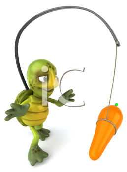 Royalty Free Clipart Image of a Turtle With a Carrot Dangling in Front of Its Nose