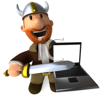 Royalty Free Clipart Image of a Viking With a Laptop