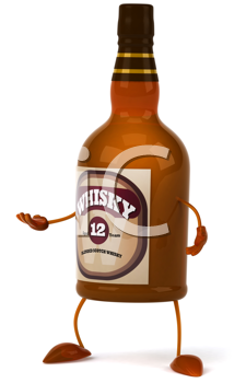 Royalty Free Clipart Image of a Whisky Bottle With Its Hand Out