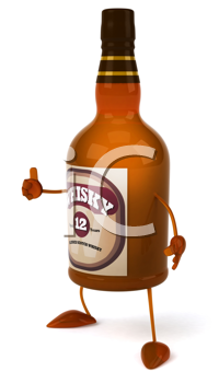 Royalty Free Clipart Image of a Whisky Bottle Giving a Thumbs Up