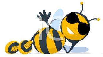 Royalty Free Clipart Image of a Bee Lying Down in Dark Glasses