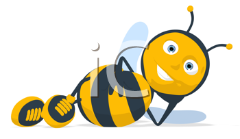 Royalty Free Clipart Image of a Resting Bee