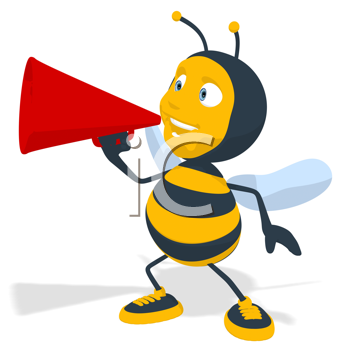 Royalty Free Clipart Image of a Bee With a Megaphone