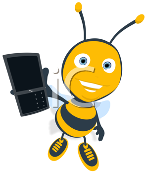 Royalty Free Clipart Image of a Bee Showing a Cellphone