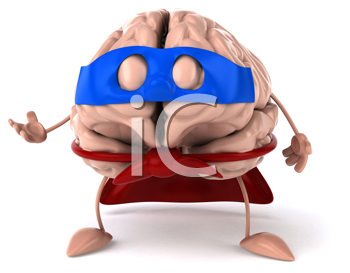 Royalty Free Clipart Image of a Brain Superhero