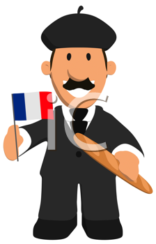Royalty Free Clipart Image of a French Man With a Baguette