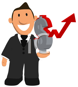 Royalty Free Clipart Image of a Businessman With a Dollar Sign and Rising Arrow