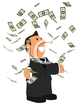 Royalty Free Clipart Image of a Businessman Juggling Money