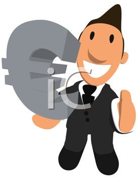 Royalty Free Clipart Image of a Man Holding a Euro Symbol