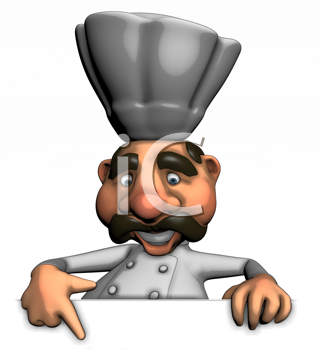 Royalty Free Clipart Image of a Chef Pointing Down