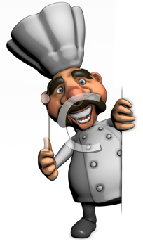 Royalty Free Clipart Image of a Chef Giving a Thumbs Up