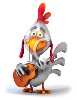 Royalty Free Clipart Image of a Guitar Playing Chicken
