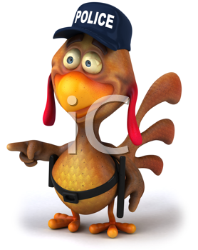 Royalty Free Clipart Image of a Pointing Chicken Cop