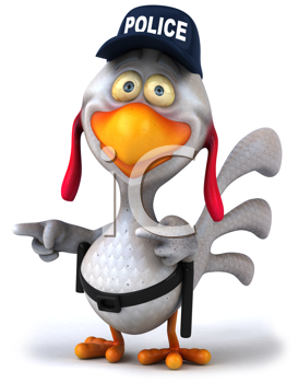Royalty Free Clipart Image of a Police Chicken