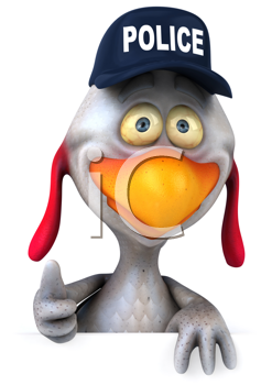 Royalty Free Clipart Image of a Police Chicken Giving a Thumbs Up