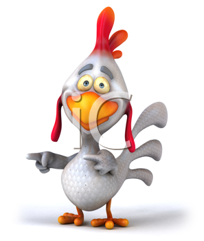Royalty Free Clipart Image of a Pointing Chicken