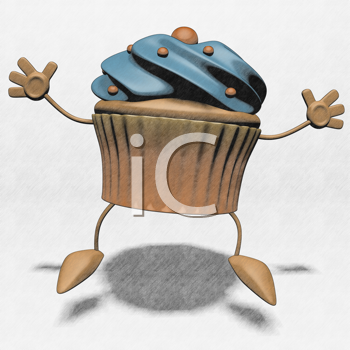 Royalty Free Clipart Image of a Happy Cupcake