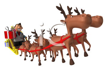 Royalty Free Clipart Image of a Doctor Riding in Santa's Sleigh