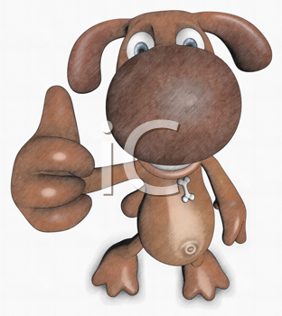 Royalty Free Clipart Image of a Dog Giving a Thumbs Up