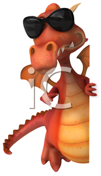Royalty Free Clipart Image of a Dragon in Sunglasses