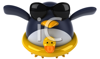 Royalty Free Clipart Image of a Penguin With a Duck Ring